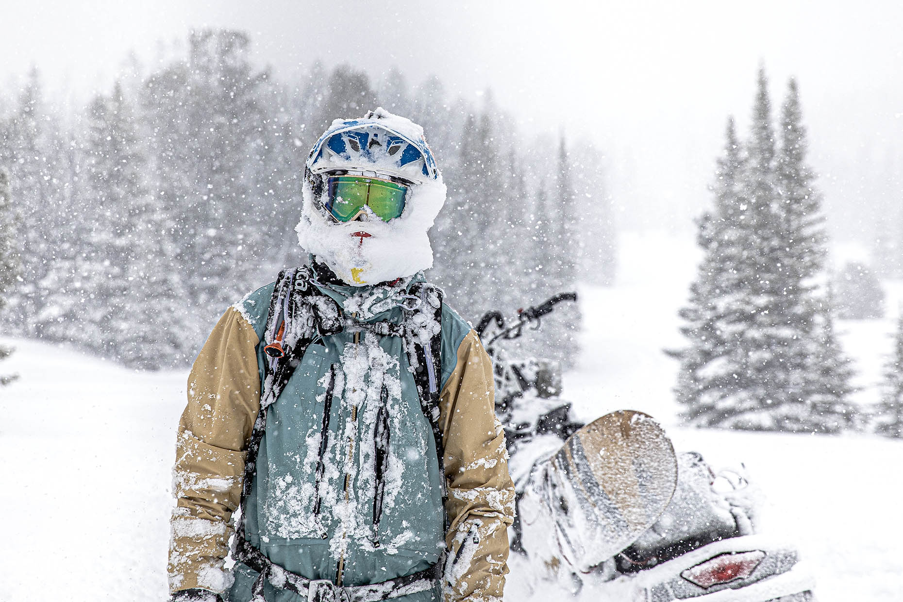 people Joey Weamer white room snowmobile winter Cooke City Montana