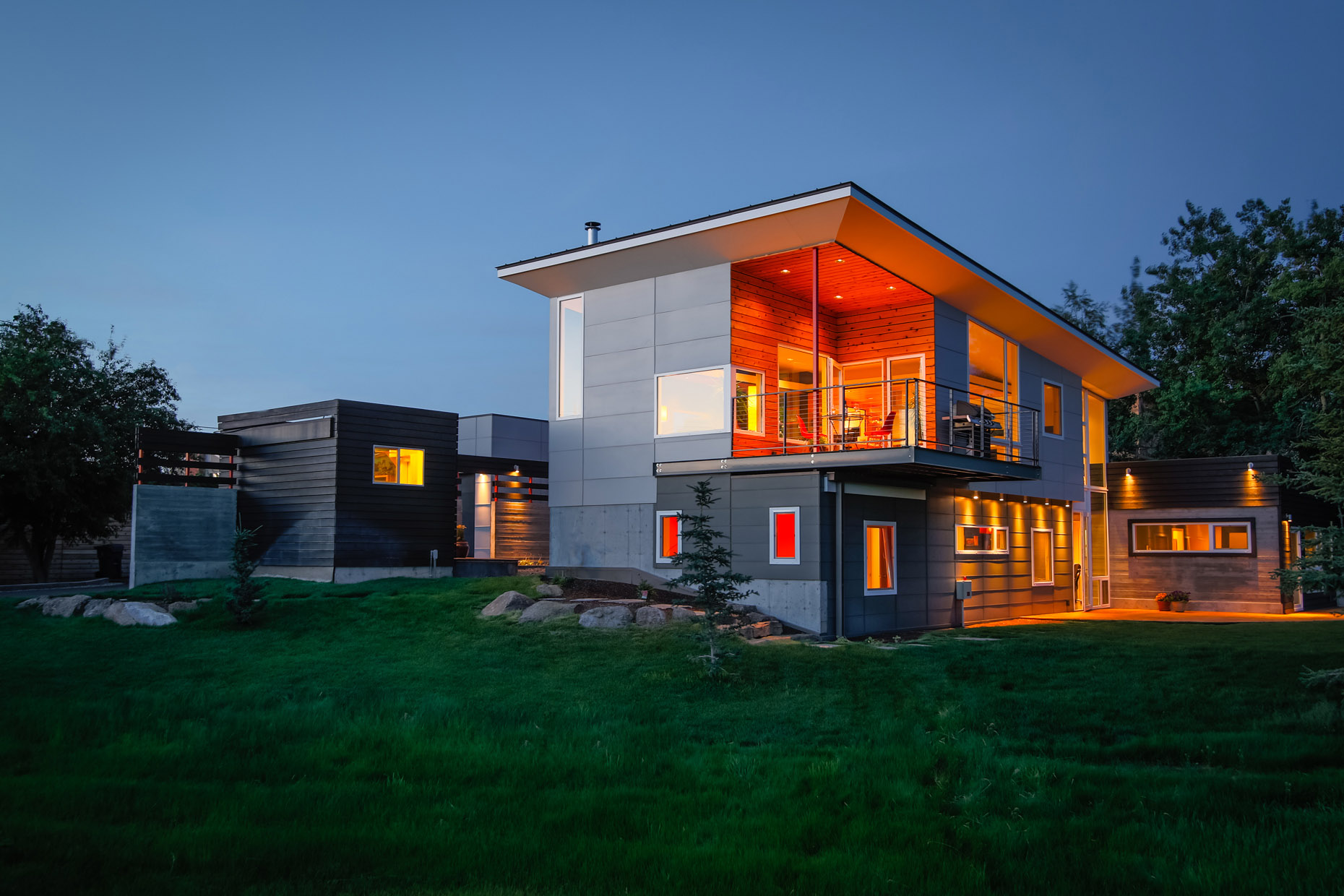 architecture Think Tank contemporary design exterior Bozeman dusk