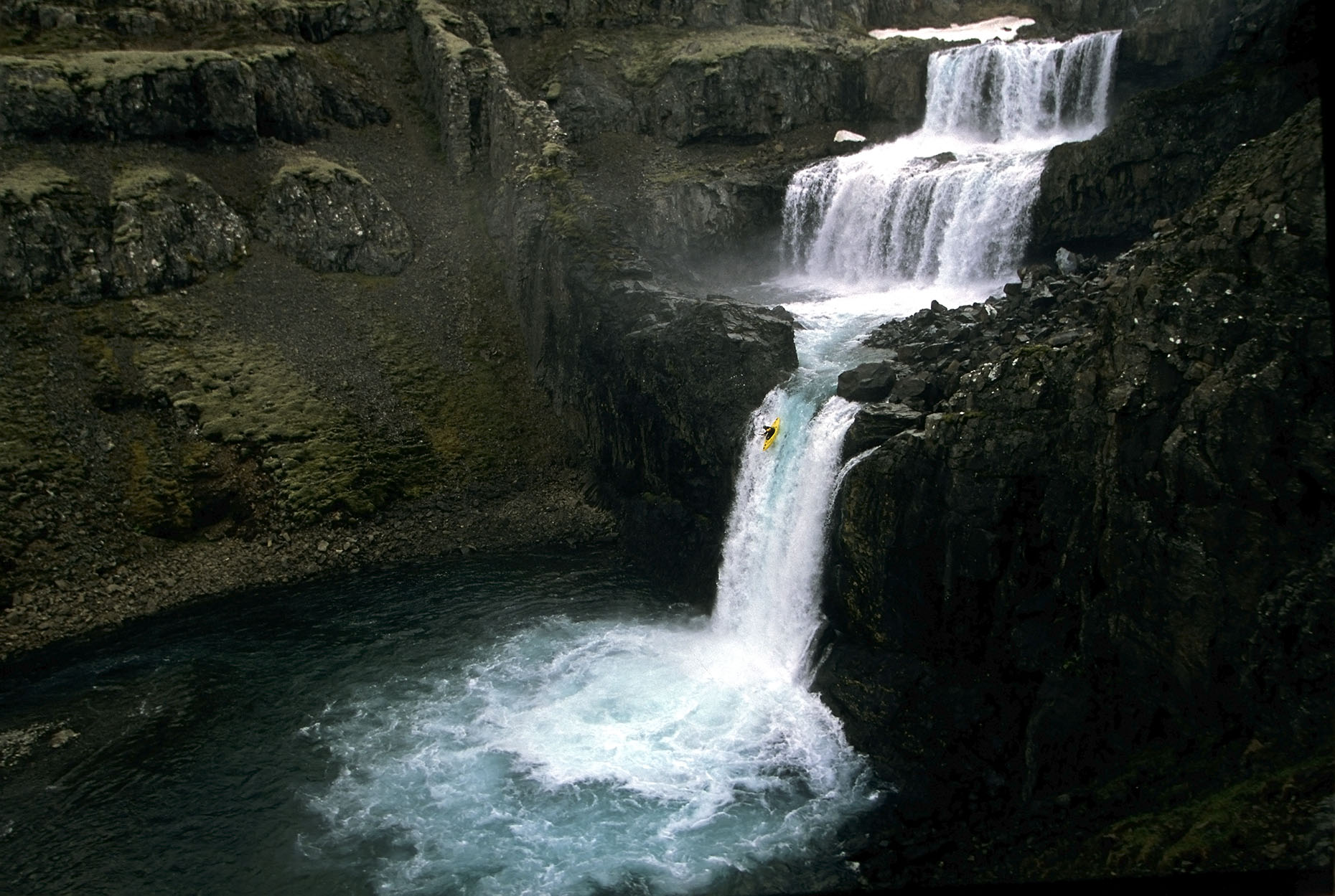 kayak waterfall Iceland Seth Warren